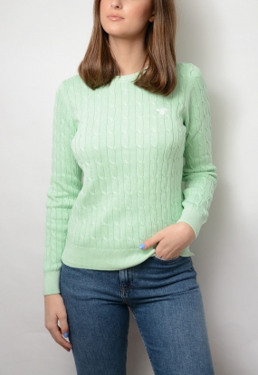 Sunbleached Cable Cotton Crew, Bay Green