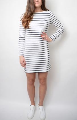 Breton Stripe Boatneck Dress, Eggshell