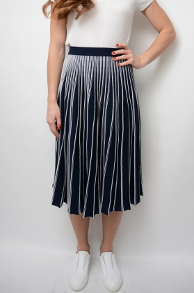 Flaired Knitted Skirt, Evening Blue