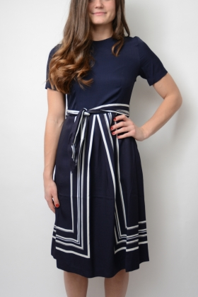 Border Stripe Dress, Evening Blue