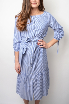 Preppy Striped Shirt Dress, Collage Blue