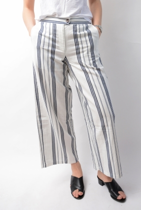 Cotton Twill Stripe Pants Eggshell