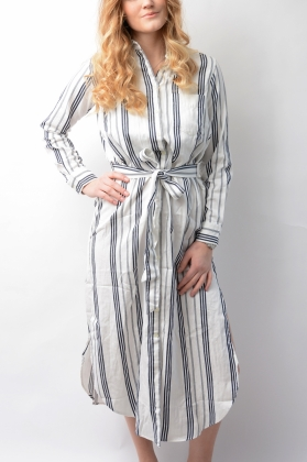 Cotton Twill Stripe Shirt Dress Eggshell