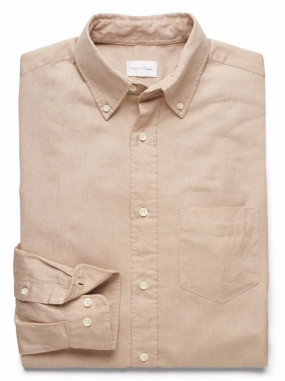 Solid Cotton Linen Shirt Dry Sand
