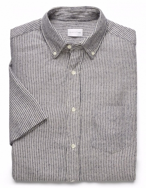 Boucle Micro Stripe ss Shirt Evening Blue