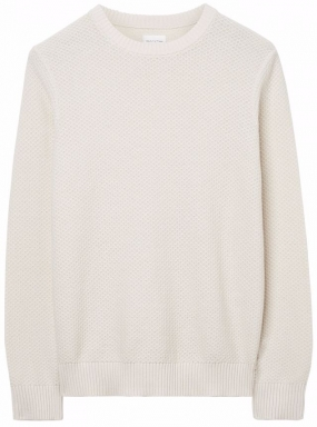 Solid Texture Crew Sweater Cream