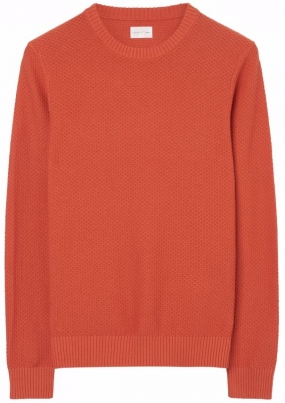 Solid Texture Crew Sweater Sunset Orange