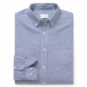 Archive Oxford Banker Stripe Slim, Deep Ocean