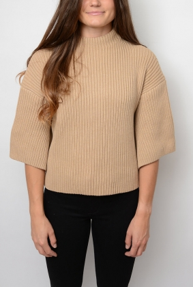 Ribbed Knit Sleeve Sweater, Beach Sand Melange