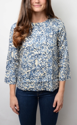 Shirt Back Blouse, Deep Ocean