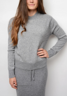 BACK TO COLLAGE SWEATER, MID GREY