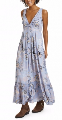 Under The Sea Long Dress Dusty Blue