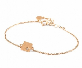 Diamond Square Bracelet Gold Plated