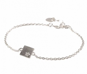 Diamond Square Bracelet Silver