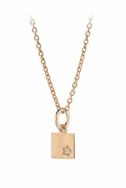 Diamond Square Necklace Gold Plated
