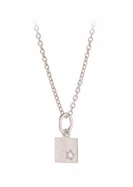 Diamond Square Necklace Silver