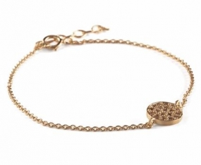 Coin Stone Bracelet Gold plated