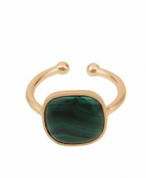 Malachite Ring Gold Plated