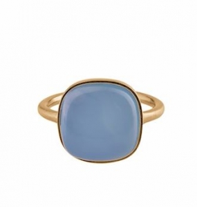 Chalcedony Ring Gold Plated