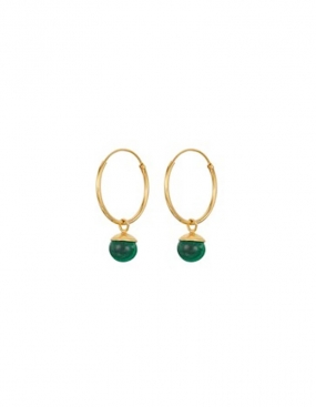 Malachite Hoops, Gold Plated