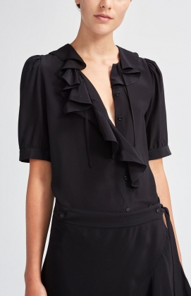 Xilla Silk Blouse, Black