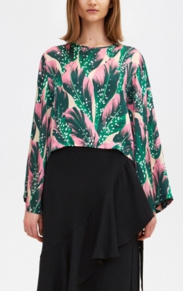 Bimori Seaflower Blouse, Forest Green
