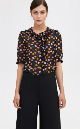 Xilla Lips Blouse, Black