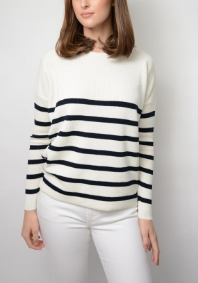 Bari Sweater, White & Navy