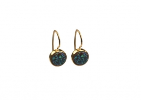 FRANCES DRUZY EARRINGS GOLD ,GREEN