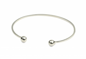 Strict Plain Bangle Ball, Silver