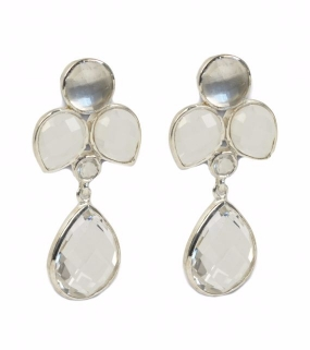 Miss Diva Dangling Earring, Silver Crystal