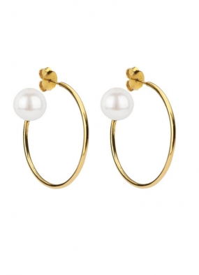 PEARLY BIG HOOPS GOLD, WHITE