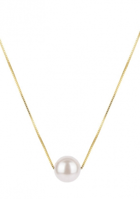 PEARLY SHORT NECKLACE GOLD, WHITE