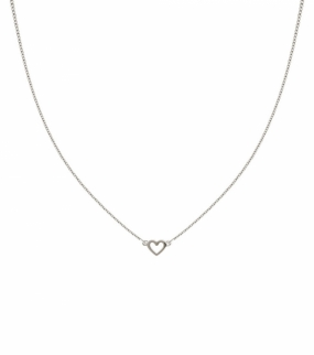 Snap Necklace Plain Heart, Silver