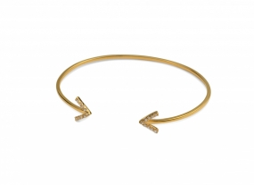 Strict Sparkling Bangle Arrow, Gold