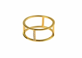 Strict Double Row Ring, Gold