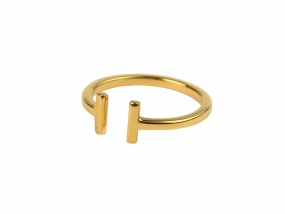 Strict Plain Bar Ring, Gold