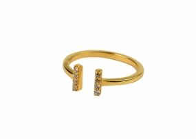 Strict Sparkle Bar Ring, Gold
