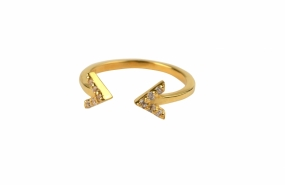 Strict Sparkle Double Arrow Ring, Gold