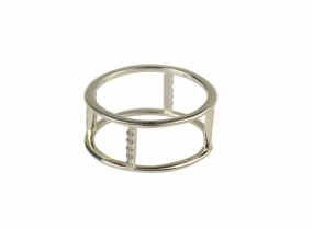 Strict Double Row Ring, Silver