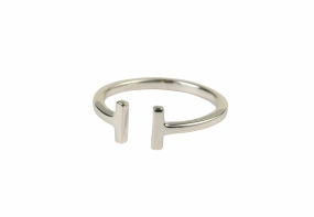 Strict Plain Bar Ring, Silver