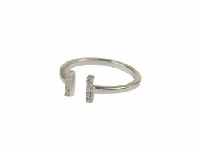 Strict Sparkle Bar Ring, Silver