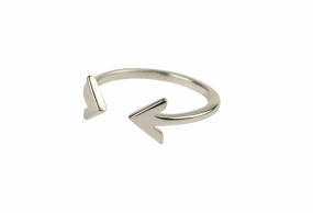 Strict Plain Double Arrow Ring, Silver