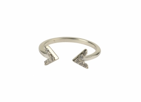 Strict Sparkle Double Arrow Ring, Silver