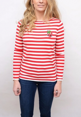 Jeanna Embroidered Sweater Crimson & Snow White