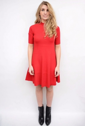 Jany Flare Dress Crimson
