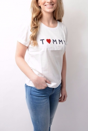 Tommy Logo Heart Tee White