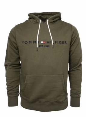TOMMY LOGO HOODY, DUSTY OLIVE