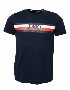 Tommy Logo Tee, Sky Captain