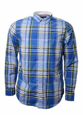 Large Multi Check Shirt, Nautical Blue